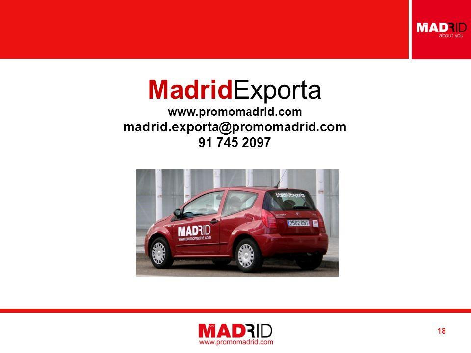 Introduzca AUTOR / DESTINATARIO Introduzca FECHA 18 MadridExporta www.promomadrid.com madrid.exporta@promomadrid.com 91 745 2097