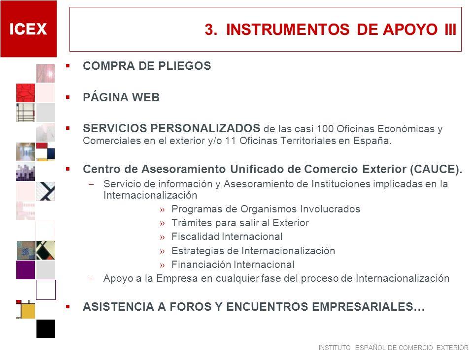 INSTITUTO ESPAÑOL DE COMERCIO EXTERIOR 3. INSTRUMENTOS DE APOYO III COMPRA DE PLIEGOS PÁGINA WEB SERVICIOS PERSONALIZADOS de las casi 100 Oficinas Eco