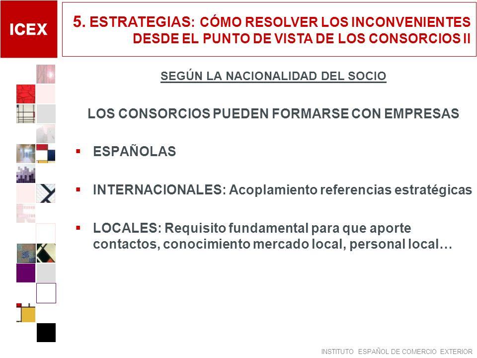 INSTITUTO ESPAÑOL DE COMERCIO EXTERIOR SEGÚN LA NACIONALIDAD DEL SOCIO LOS CONSORCIOS PUEDEN FORMARSE CON EMPRESAS ESPAÑOLAS INTERNACIONALES: Acoplami