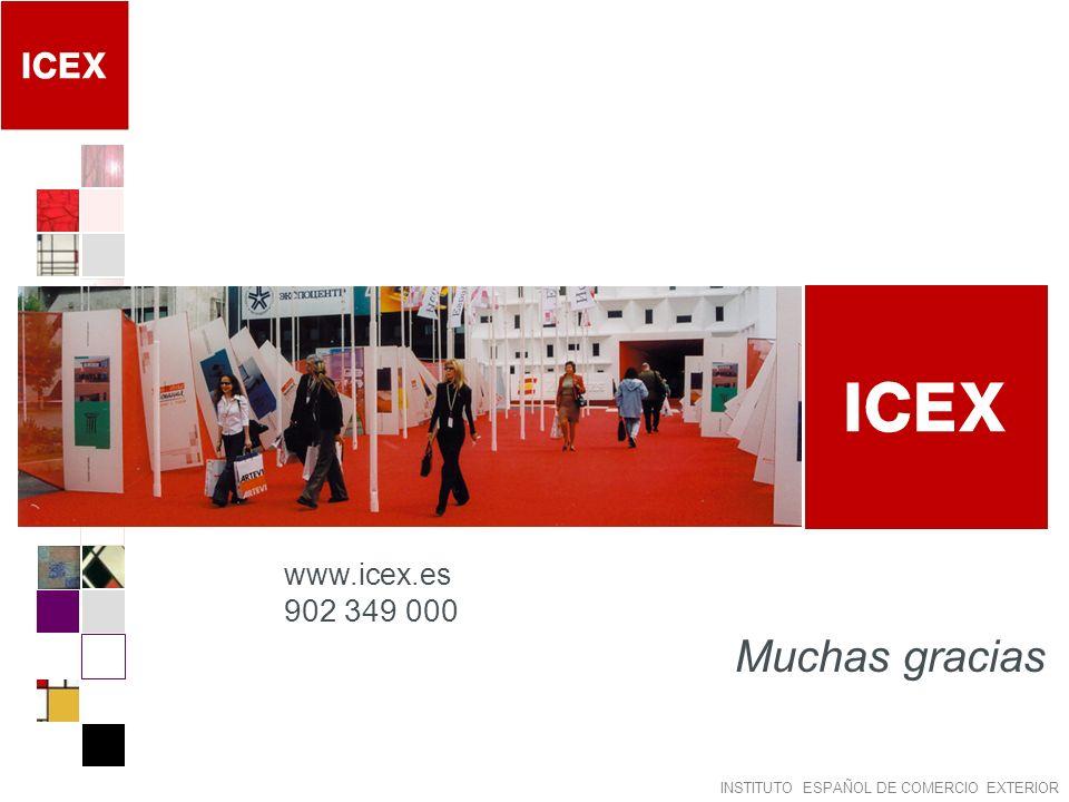 INSTITUTO ESPAÑOL DE COMERCIO EXTERIOR Muchas gracias www.icex.es 902 349 000