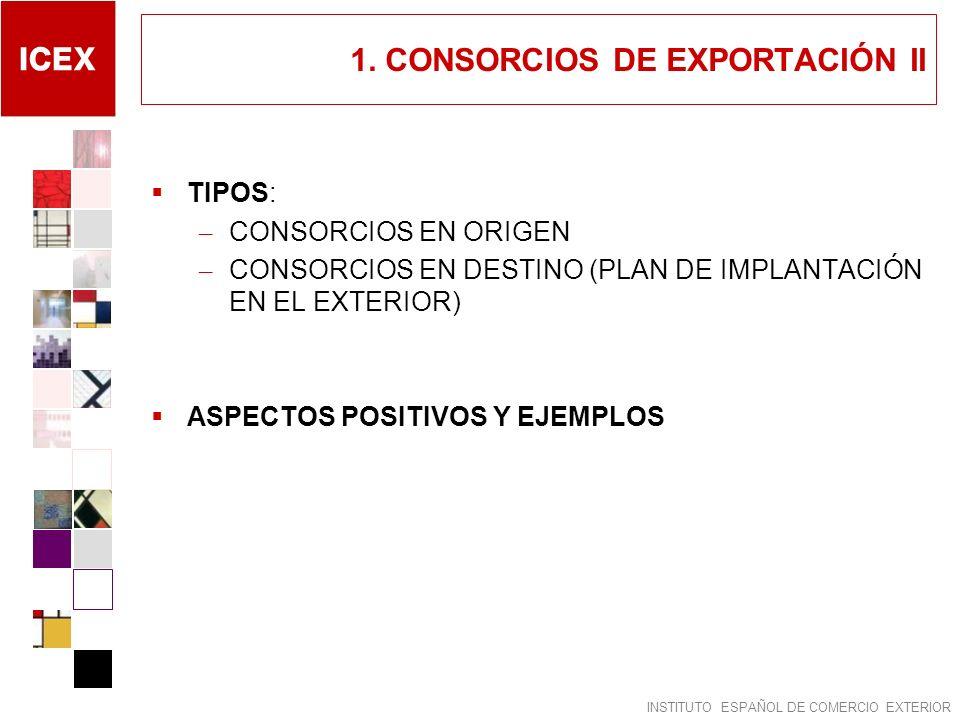 INSTITUTO ESPAÑOL DE COMERCIO EXTERIOR 1. CONSORCIOS DE EXPORTACIÓN II TIPOS: – CONSORCIOS EN ORIGEN – CONSORCIOS EN DESTINO (PLAN DE IMPLANTACIÓN EN
