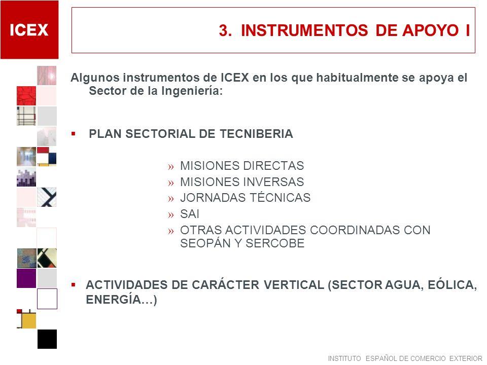 INSTITUTO ESPAÑOL DE COMERCIO EXTERIOR 3. INSTRUMENTOS DE APOYO I Algunos instrumentos de ICEX en los que habitualmente se apoya el Sector de la Ingen