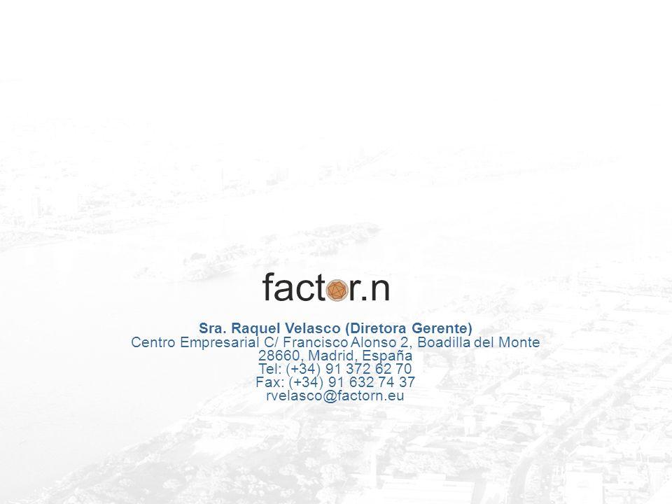 Sra. Raquel Velasco (Diretora Gerente) Centro Empresarial C/ Francisco Alonso 2, Boadilla del Monte 28660, Madrid, España Tel: (+34) 91 372 62 70 Fax: