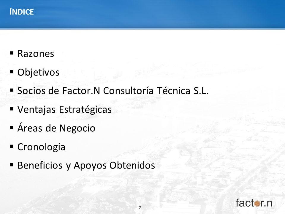 2 ÍNDICE Razones Objetivos Socios de Factor.N Consultoría Técnica S.L. Ventajas Estratégicas Áreas de Negocio Cronología Beneficios y Apoyos Obtenidos