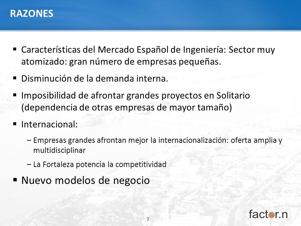 3 RAZONES Características del Mercado Español de Ingeniería: Sector muy atomizado: gran número de empresas pequeñas. Disminución de la demanda interna