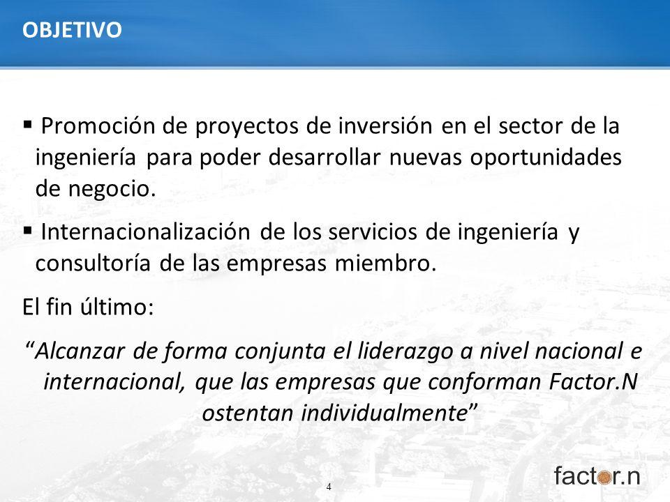 4 OBJETIVO Promoción de proyectos de inversión en el sector de la ingeniería para poder desarrollar nuevas oportunidades de negocio. Internacionalizac