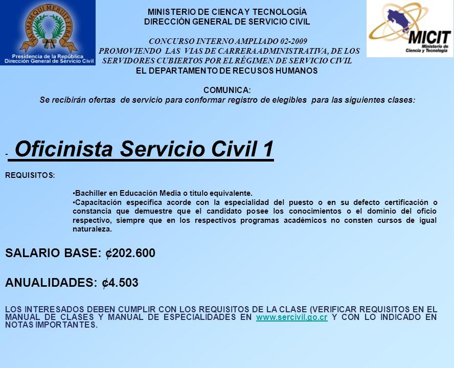 MINISTERIO DE CIENCA Y TECNOLOGÍA DIRECCIÓN GENERAL DE SERVICIO CIVIL CONCURSO INTERNO AMPLIADO 02-2009 PROMOVIENDO LAS VIAS DE CARRERA ADMINISTRATIVA, DE LOS SERVIDORES CUBIERTOS POR EL RÉGIMEN DE SERVICIO CIVIL EL DEPARTAMENTO DE RECUSOS HUMANOS COMUNICA: Se recibirán ofertas de servicio para conformar registro de elegibles para las siguientes clases: - Oficinista Servicio Civil 1 REQUISITOS: Bachiller en Educación Media o título equivalente.
