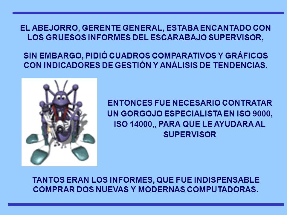 EL ABEJORRO, GERENTE GENERAL, ESTABA ENCANTADO CON LOS GRUESOS INFORMES DEL ESCARABAJO SUPERVISOR, SIN EMBARGO, PIDIÓ CUADROS COMPARATIVOS Y GRÁFICOS