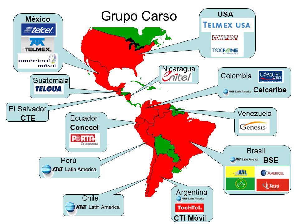 USA México Guatemala El Salvador CTE Argentina CTI Móvil Brasil BSE Perú Chile Ecuador Conecel Nicaragua Venezuela Colombia Celcaribe Grupo Carso