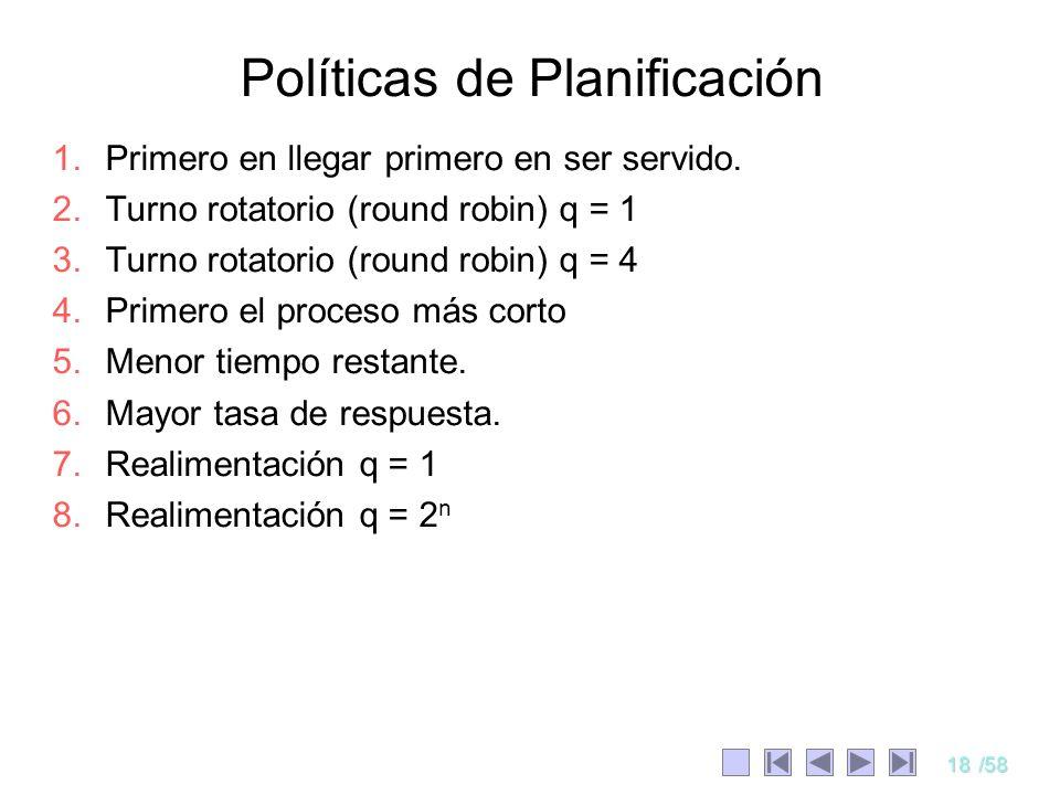 18/58 Políticas de Planificación 1.Primero en llegar primero en ser servido. 2.Turno rotatorio (round robin) q = 1 3.Turno rotatorio (round robin) q =