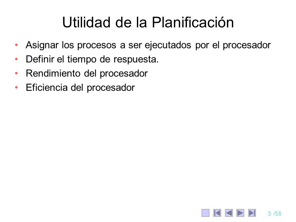 3/58 Utilidad de la Planificación Asignar los procesos a ser ejecutados por el procesador Definir el tiempo de respuesta. Rendimiento del procesador E