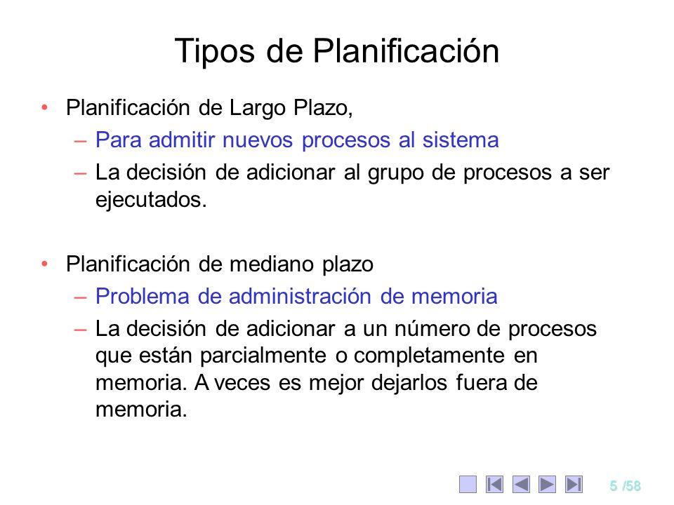 5/58 Planificación de Largo Plazo, –Para admitir nuevos procesos al sistema –La decisión de adicionar al grupo de procesos a ser ejecutados. Planifica