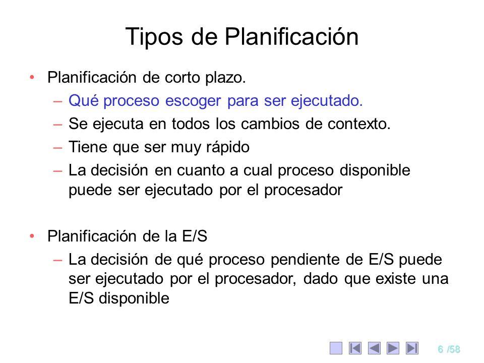 6/58 Planificación de corto plazo. –Qué proceso escoger para ser ejecutado. –Se ejecuta en todos los cambios de contexto. –Tiene que ser muy rápido –L