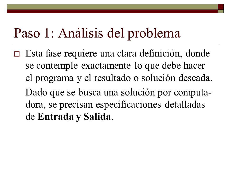 Paso 1: Análisis del problema Esta fase requiere una clara definición, donde se contemple exactamente lo que debe hacer el programa y el resultado o s