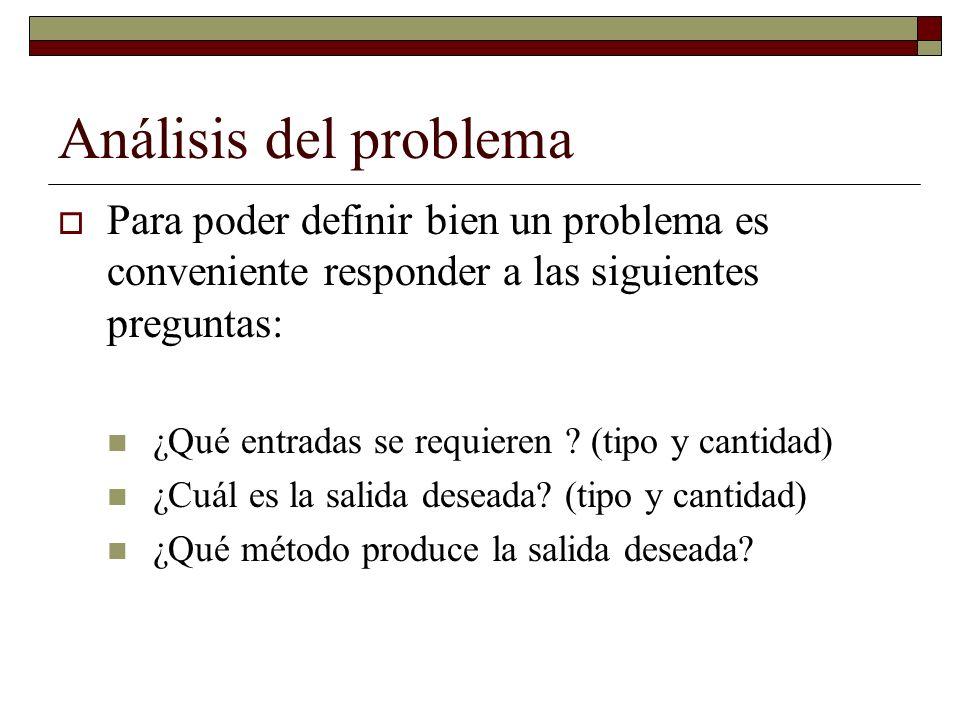 Análisis del problema Para poder definir bien un problema es conveniente responder a las siguientes preguntas: ¿Qué entradas se requieren ? (tipo y ca