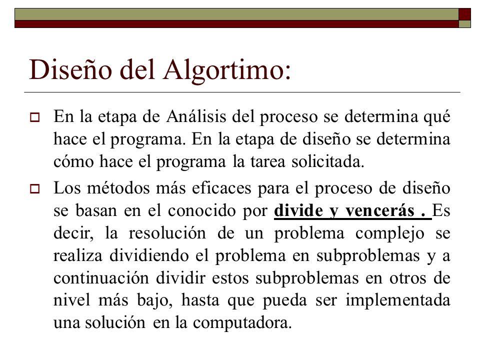 Diseño del Algortimo: En la etapa de Análisis del proceso se determina qué hace el programa. En la etapa de diseño se determina cómo hace el programa