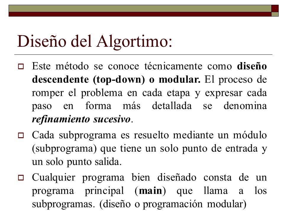 Diseño del Algortimo: Este método se conoce técnicamente como diseño descendente (top-down) o modular. El proceso de romper el problema en cada etapa