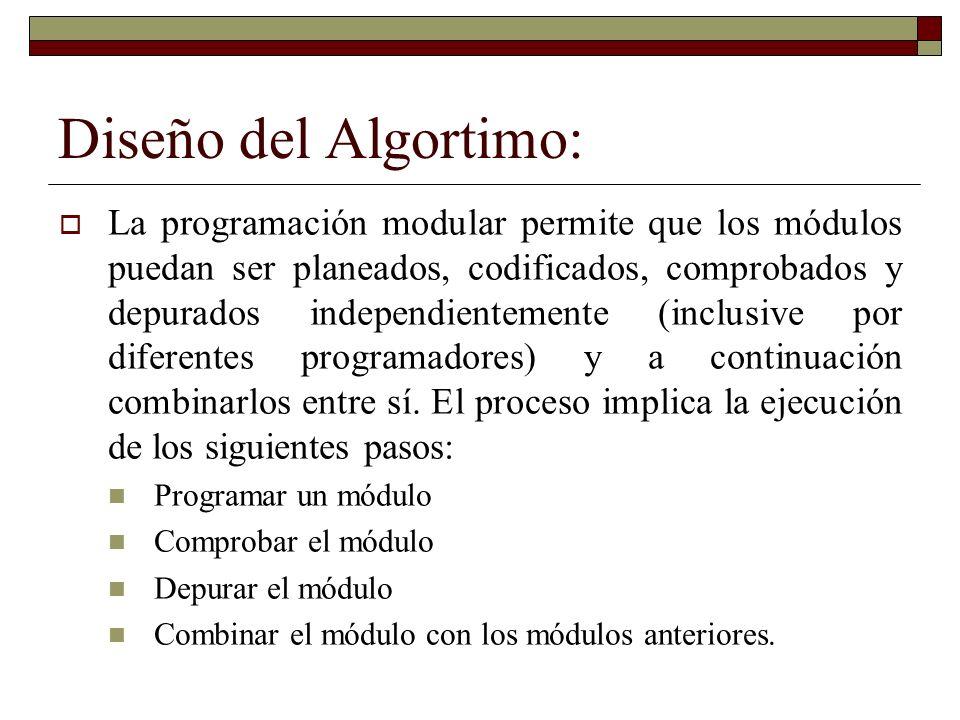 Diseño del Algortimo: La programación modular permite que los módulos puedan ser planeados, codificados, comprobados y depurados independientemente (i
