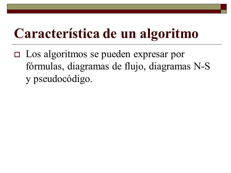 Característica de un algoritmo Los algoritmos se pueden expresar por fórmulas, diagramas de flujo, diagramas N-S y pseudocódigo.