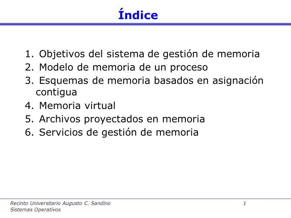 Recinto Universitario Augusto C. Sandino 0 Sistemas Operativos Gestión de memoria