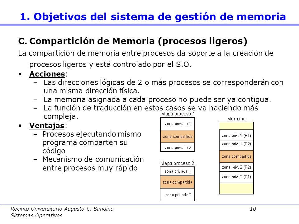 Recinto Universitario Augusto C. Sandino 9 Sistemas Operativos B.Protección entre procesos La protección es diferente según sea un sistema Mono o Mult
