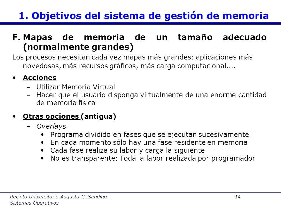 Recinto Universitario Augusto C. Sandino 13 Sistemas Operativos El reparto de memoria debe ser tal que maximize el grado de multiprogramación para evi