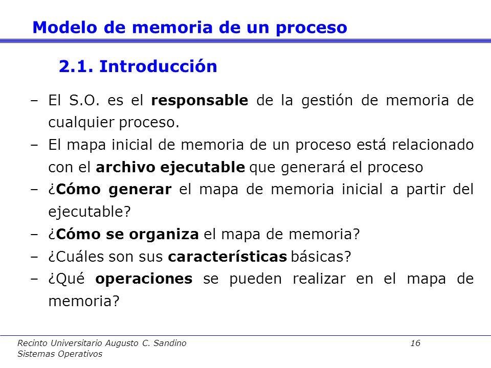 Recinto Universitario Augusto C. Sandino 15 Sistemas Operativos 2. Modelo de memoria de un proceso 2.1. Introducción 2.2. Fases en la generación de un