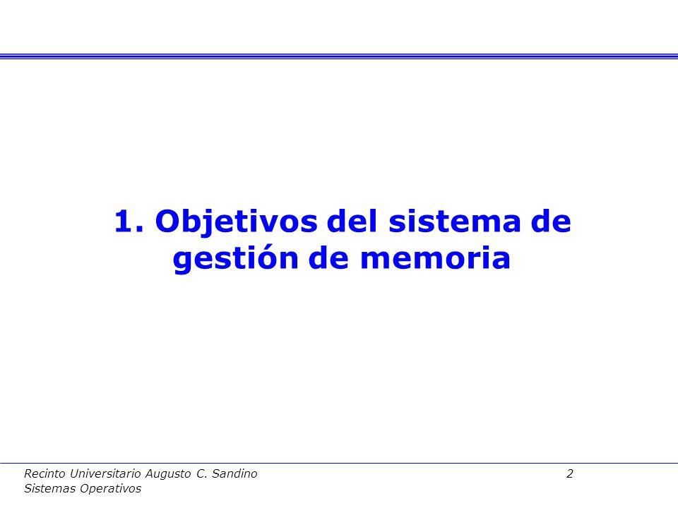 Recinto Universitario Augusto C. Sandino 1 Sistemas Operativos Índice 1. Objetivos del sistema de gestión de memoria 2. Modelo de memoria de un proces