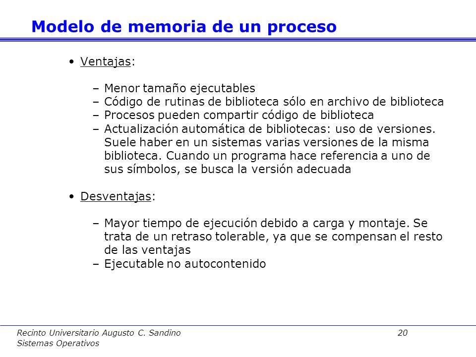 Recinto Universitario Augusto C. Sandino 19 Sistemas Operativos Dinámicas: la carga y montaje se hace en tiempo de ejecución. El ejecutable contiene ú