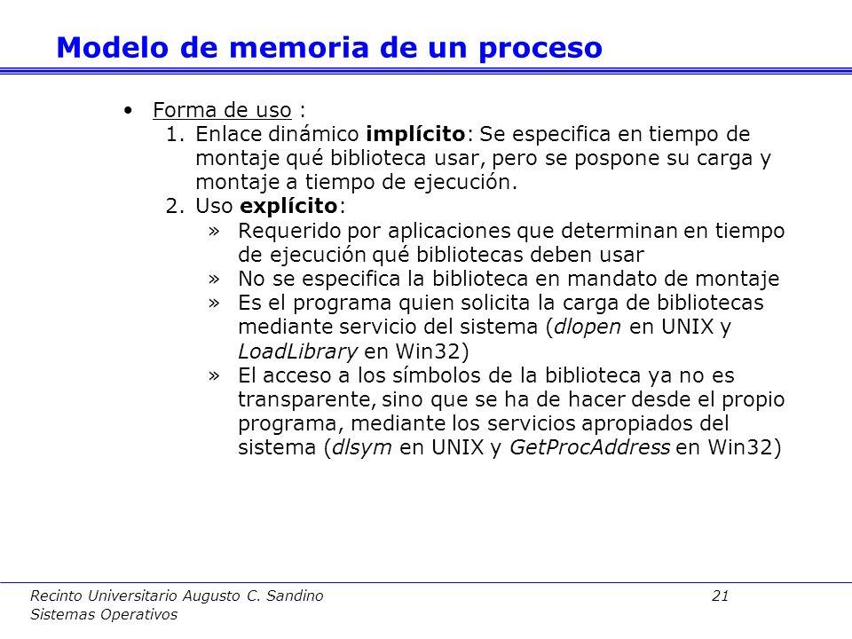 Recinto Universitario Augusto C. Sandino 20 Sistemas Operativos Ventajas: –Menor tamaño ejecutables –Código de rutinas de biblioteca sólo en archivo d