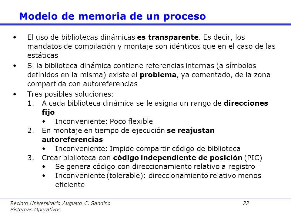 Recinto Universitario Augusto C. Sandino 21 Sistemas Operativos Forma de uso : 1.Enlace dinámico implícito: Se especifica en tiempo de montaje qué bib