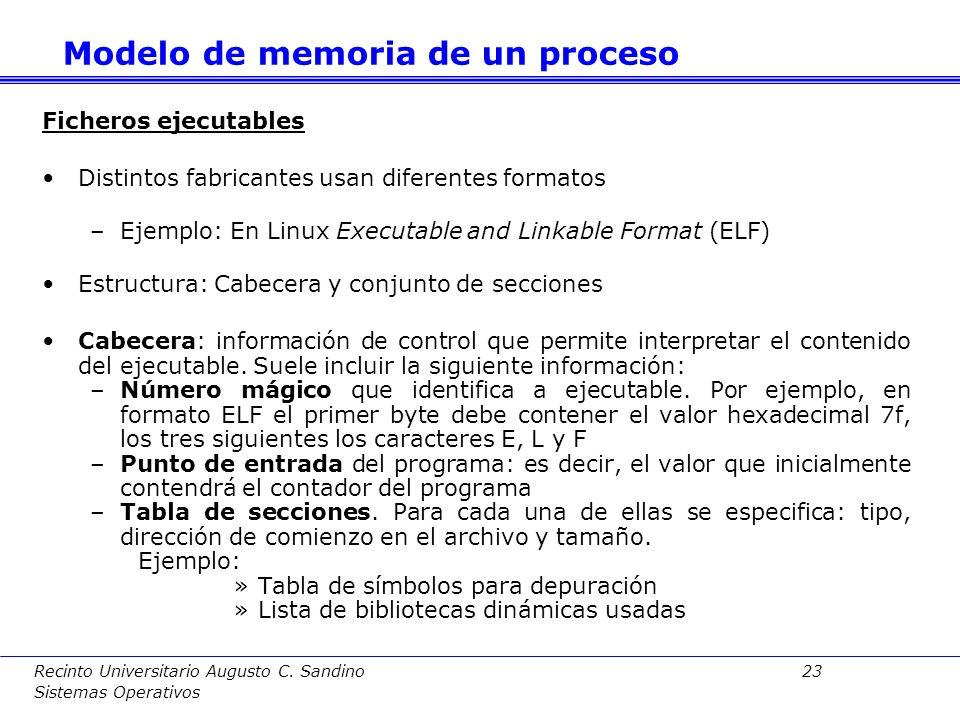 Recinto Universitario Augusto C. Sandino 22 Sistemas Operativos El uso de bibliotecas dinámicas es transparente. Es decir, los mandatos de compilación
