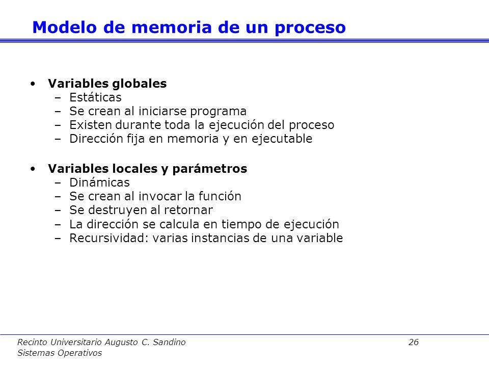 Recinto Universitario Augusto C. Sandino 25 Sistemas Operativos Las secciones más relevantes se volcarán en el mapa de memoria del proceso: código, da