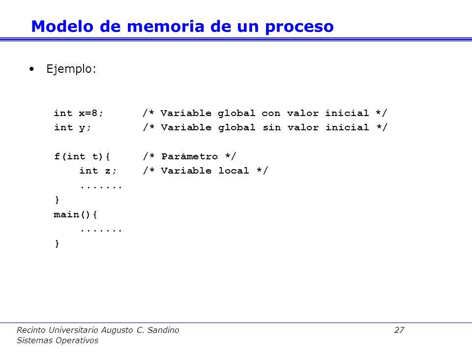 Recinto Universitario Augusto C. Sandino 26 Sistemas Operativos Variables globales –Estáticas –Se crean al iniciarse programa –Existen durante toda la