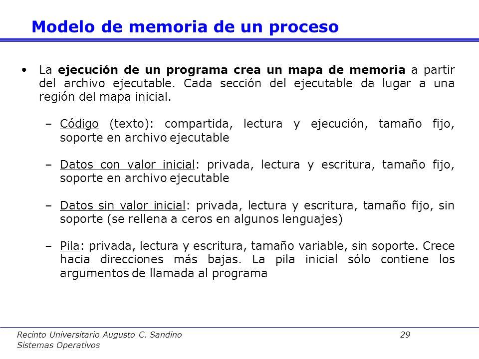 Recinto Universitario Augusto C. Sandino 28 Sistemas Operativos El mapa de memoria o imagen del proceso estará compuesto por un conjunto de regiones o