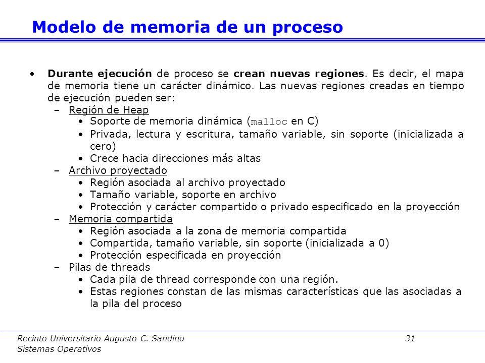 Recinto Universitario Augusto C. Sandino 30 Sistemas Operativos Cabecera Fichero ejecutable 0 1000 5000 Secciones 8000 Número mágico Contador de progr