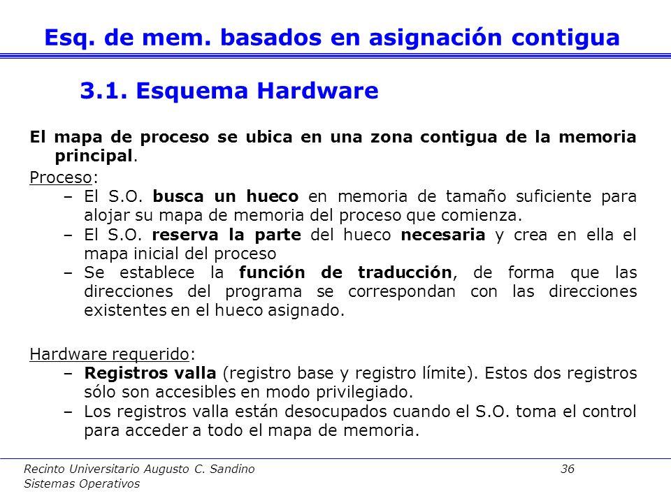 Recinto Universitario Augusto C. Sandino 35 Sistemas Operativos 3. Esquemas de memoria basados en asignación contigua 3.1. Esquema hardware 3.2. Gesti
