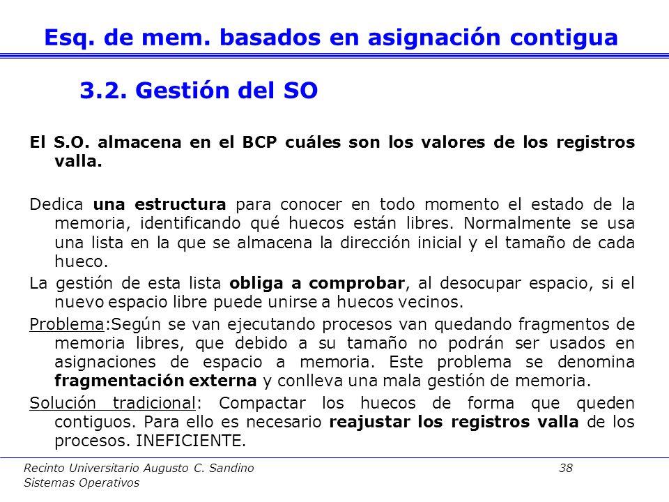 Recinto Universitario Augusto C. Sandino 37 Sistemas Operativos Registro límite: Se comprobará que las direcciones usadas por el proceso no excedan el