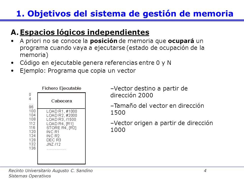 Recinto Universitario Augusto C. Sandino 94 Sistemas Operativos 5. Archivos proyectados en memoria
