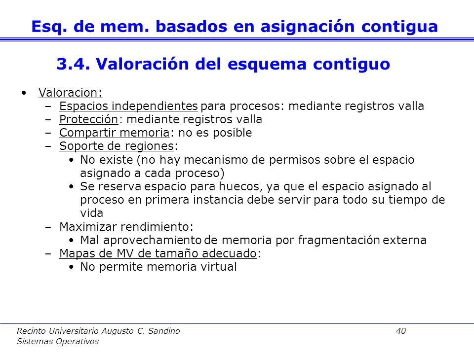 Recinto Universitario Augusto C. Sandino 39 Sistemas Operativos El S.O. debe considerar qué espacio, de los huecos libres, se usará intentando encontr