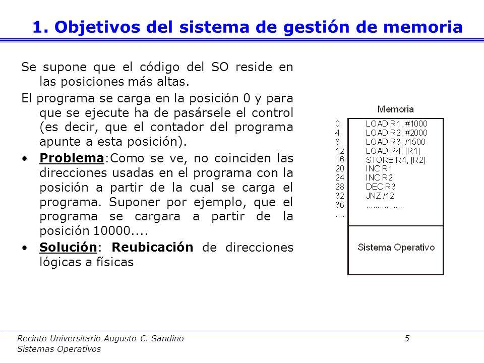 Recinto Universitario Augusto C. Sandino 4 Sistemas Operativos A.Espacios lógicos independientes A priori no se conoce la posición de memoria que ocup