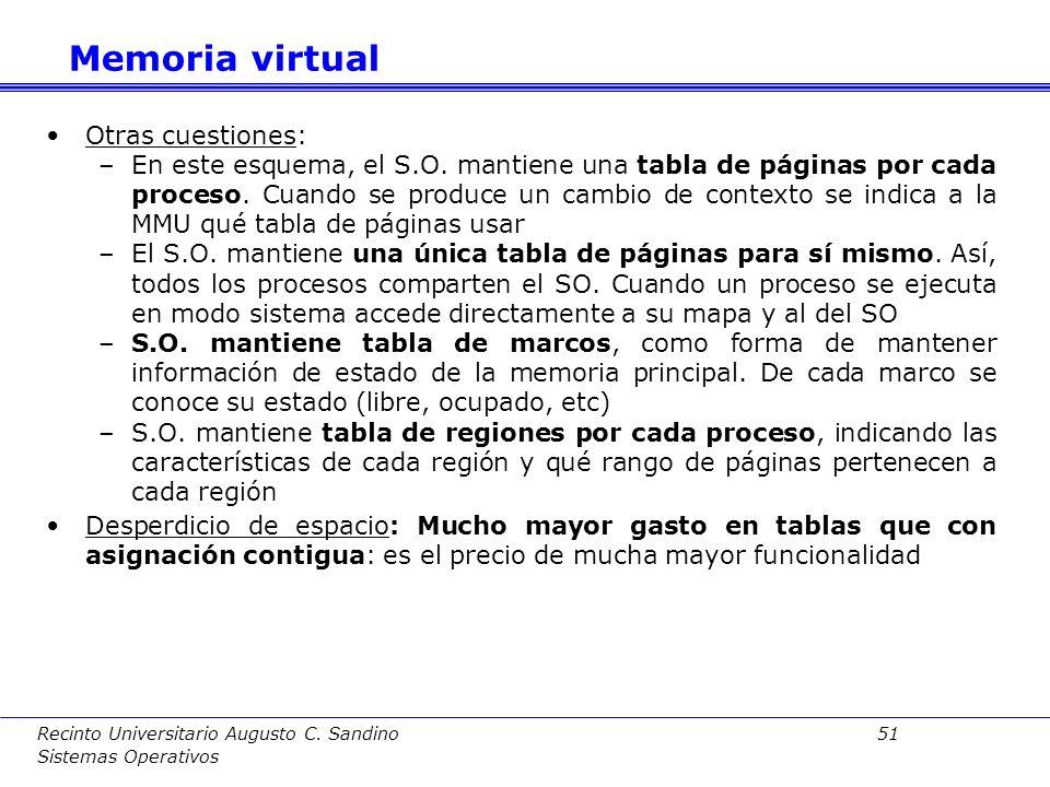 Recinto Universitario Augusto C. Sandino 50 Sistemas Operativos Problema: Fragmentación, la memoria asignada es mayor que la memoria requerida y por l