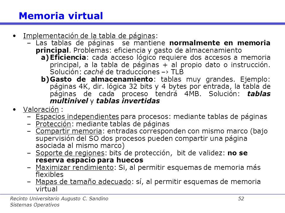 Recinto Universitario Augusto C. Sandino 51 Sistemas Operativos Otras cuestiones: –En este esquema, el S.O. mantiene una tabla de páginas por cada pro