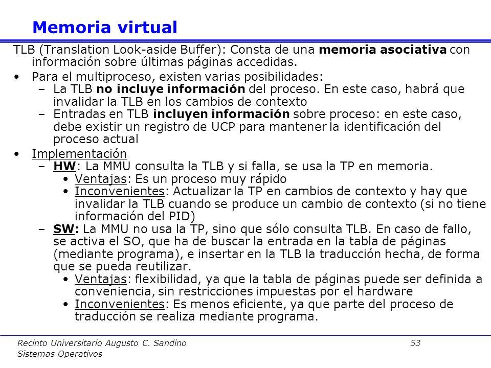 Recinto Universitario Augusto C. Sandino 52 Sistemas Operativos Implementación de la tabla de páginas: –Las tablas de páginas se mantiene normalmente