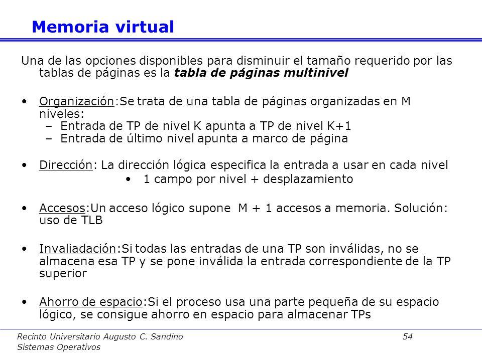 Recinto Universitario Augusto C. Sandino 53 Sistemas Operativos TLB (Translation Look-aside Buffer): Consta de una memoria asociativa con información