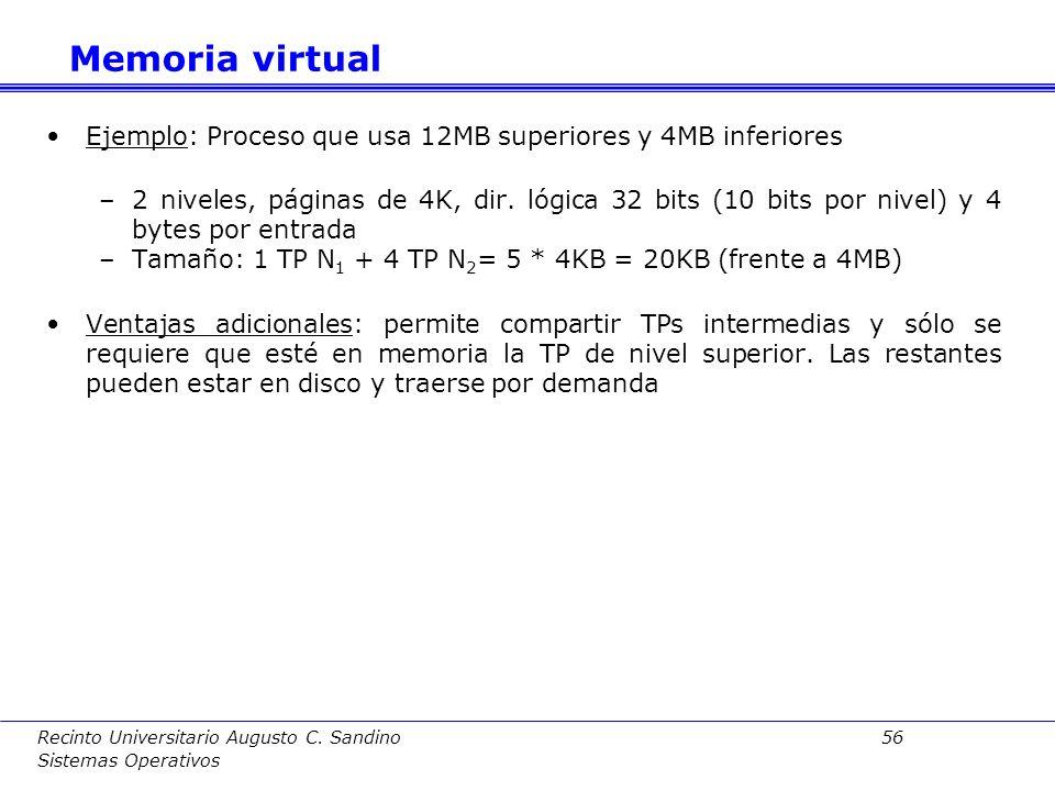 Recinto Universitario Augusto C. Sandino 55 Sistemas Operativos 1 er nivel 2º nivel Byte Registro base de la TP (RIED) 0 1 2 3 n Dirección lógica MP: