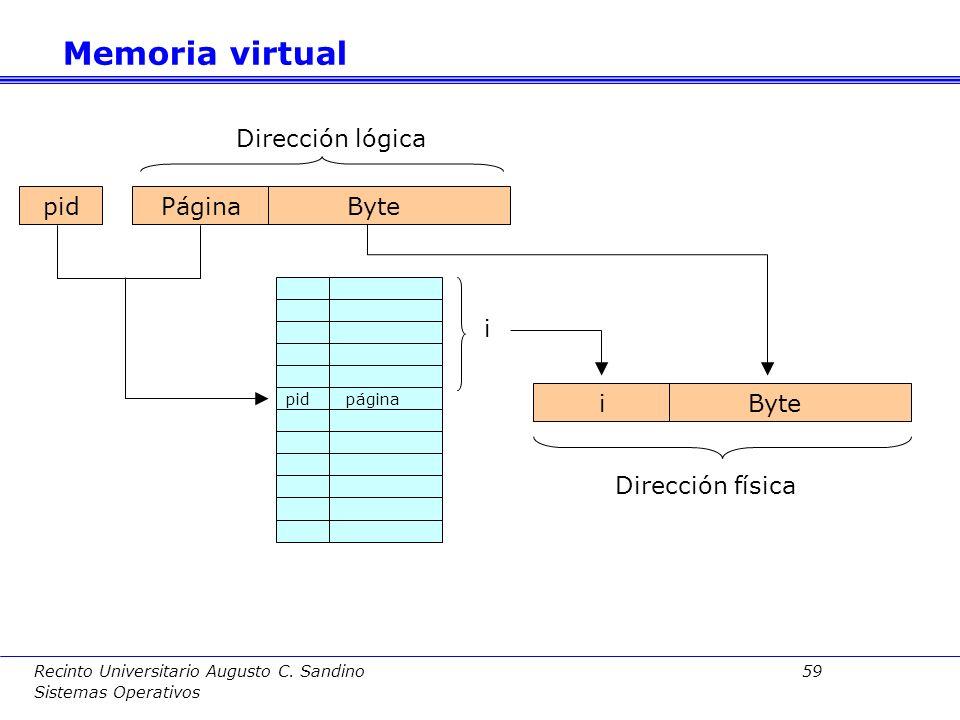 Recinto Universitario Augusto C. Sandino 58 Sistemas Operativos Otra alternativa para disminuir el espacio necesario por la tabla de páginas es la tab