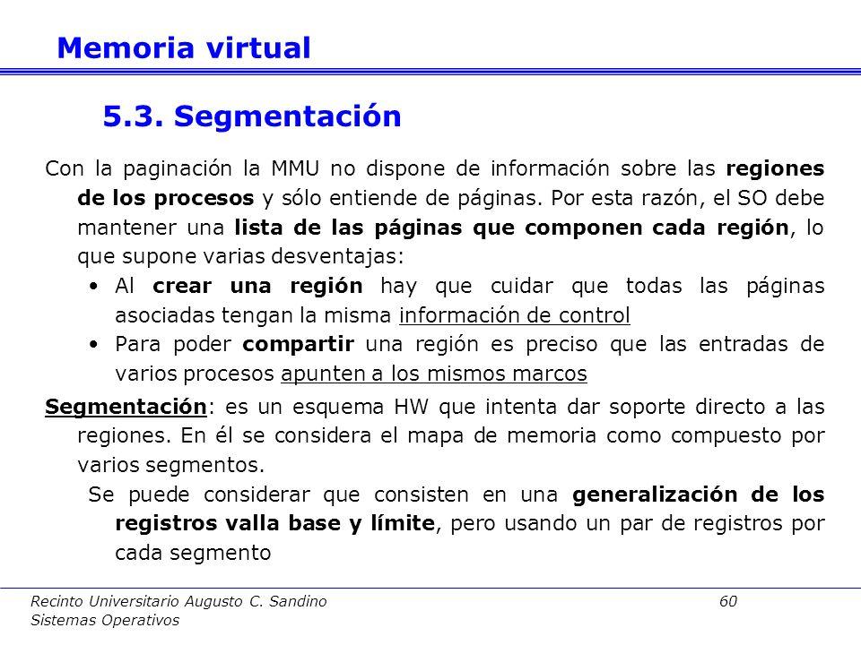 Recinto Universitario Augusto C. Sandino 59 Sistemas Operativos pidpágina BytePáginapid Dirección lógica Bytei i Dirección física Memoria virtual