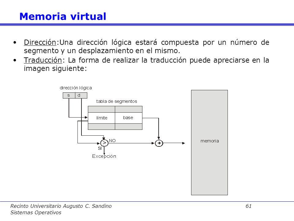 Recinto Universitario Augusto C. Sandino 60 Sistemas Operativos Con la paginación la MMU no dispone de información sobre las regiones de los procesos