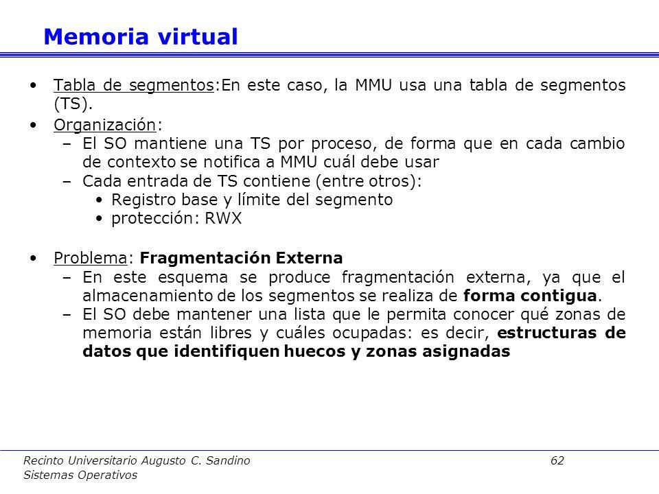 Recinto Universitario Augusto C. Sandino 61 Sistemas Operativos Dirección:Una dirección lógica estará compuesta por un número de segmento y un desplaz